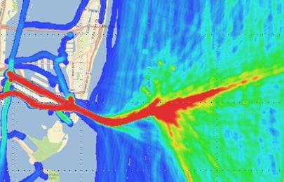 Map Graf showing color Marine Traffic Density