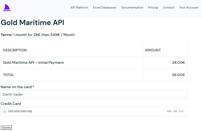 Payment Example Maritime Datalastic API