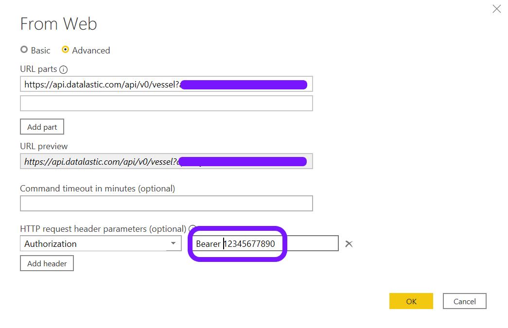 Advanced URL add Maritime API to Power BI
